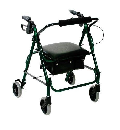 Days Leichtklapp Four Wheel Rollator Walker mit gepolstertem Sitz, abschließbare Bremsen, ergonomische Griffe, und Carry Bag, Begrenzte Mobilitätshilfe, Racing Green, X-Small,