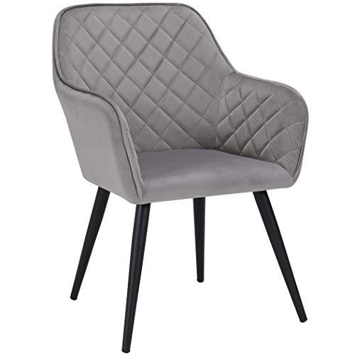 Duhome Esszimmerstuhl aus Stoff (Samt) Grau Farbauswahl Retro Design Armlehnstuhl Stuhl mit Rückenlehne Sessel Metallbeine 8058