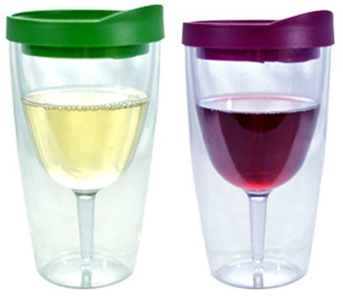 Southern Homewares Wein 2Go. isoliert Vino doppelte Wand Acryl Wein Tumbler mit Merlot und Verde Getränk durch Deckel, 473ml