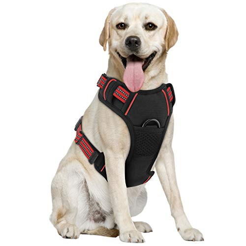 Pawaboo Dog Harness, No Pull Pet Vest Harness Adjustable Reflective Oxford Soft Padded Easy Control Handle for Outdoor Walking, Suitable for Small, Medium, Large Dogs, Black + Red