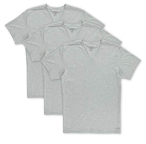 Calvin Klein Men's Cotton Classics Multipack V Neck T-Shirts, Heather Grey/Heather Grey/Heather Grey, Large
