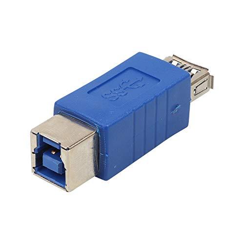 ecabo USB 3.0 Adapter ― USB Typ A Kupplung auf USB Typ B Kupplung ― Adapter Konverter ― Aufladen und Datenübertragung ― blau