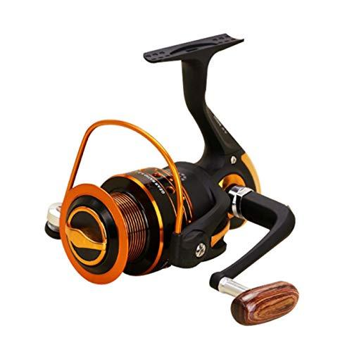 Spinning Carbon Fiber Drag Carrete de Pesca de Agua Dulce Ultraligero Serie AX500-7000 12 + 1BB Plástico Giratorio con balancín de Metal (Dorado y Negro) ESjasnyfall