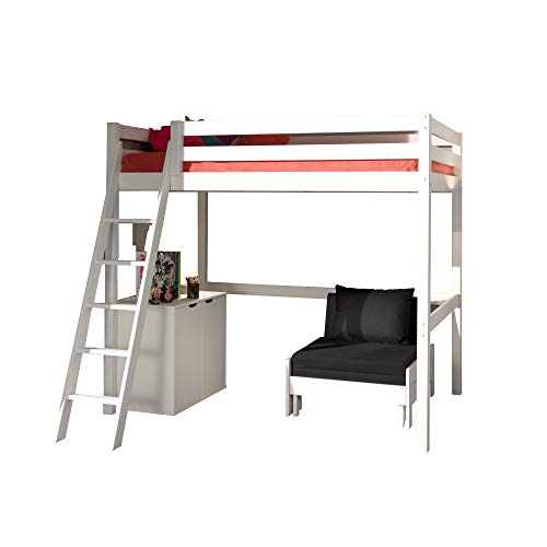 Jugendmöbel24.de Hochbett Harper 140 * 200 cm inkl Rollrost + Kommode + Sessel Kiefer massiv EN geprüft + FSC Zertifiziert Kinderbett Bett