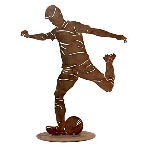 Rostikal   Fußball Deko Geburtstag Geschenk Gartendeko Figuren Rost Edelrost   40 cm hoch