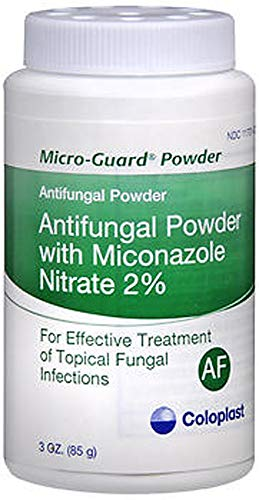 MICRO-GUARD Antifungal Powder (Pack of 2) Contains 2% Miconazole Nitrate. 3 oz Each - Treats Athlete's Foot, Ringworm, Jock Itch and Works Well Under Skin Folds - Coloplast