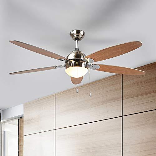 Lindby Deckenventilator mit Beleuchtung und Zugschalter leise | 2-in-1: Ventilator & Lampe | Durchmesser: 132 cm | 3 Geschwindigkeitsstufen | Sommer- & Winterbetrieb