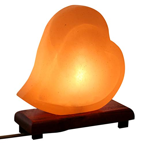 Mockins Hand Crafted Salt Lamp Heart Shape with Beautiful Wood Base -Includes Dimmer and Light Bulbs | Great Adult Night Lights and Decor