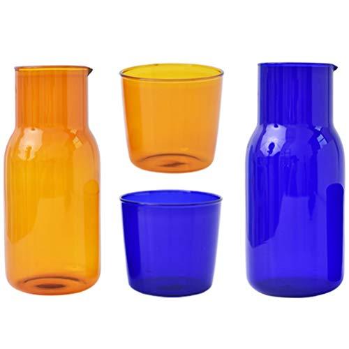 HEMOTON Juego de jarra de agua para cabecera, vaso de cristal, jarra de vidrio para dormitorio, mesita de noche, baño, botella de enjuague bucal, 2 unidades, azul verde