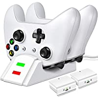 ESYWEN Controller Dual Charging Dock Station with 2 x 1200mAh Rechargeable Battery Packs for Xbox One (White)