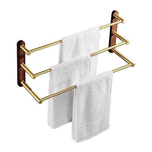 FZC-YM Nordic Gold Three Bar Towel Rack Base de Nogal Colgador de baño Toallero Toallero montado en la Pared Toallero Toallero (Tamaño: 58cm)