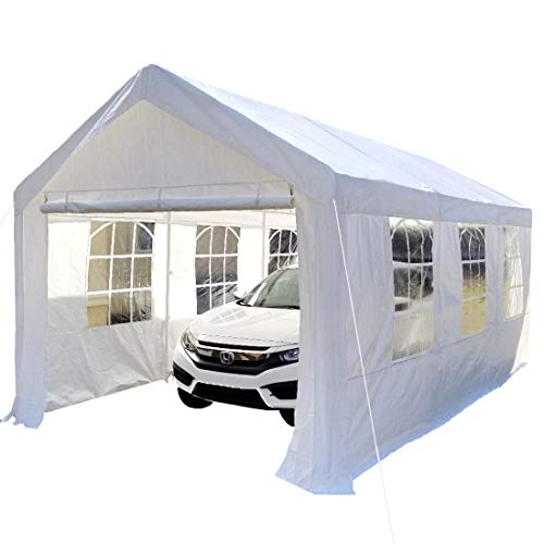 Overwhelming 10'x20' Heavy Duty Carport Garage Portable Car Shelter Canopy Party Tent Sidewall with...