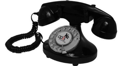 OPIS FunkyFon cable: Rotary dial disc retro telephone in the sinuous style of the 1920s with modern electronic bell (black)