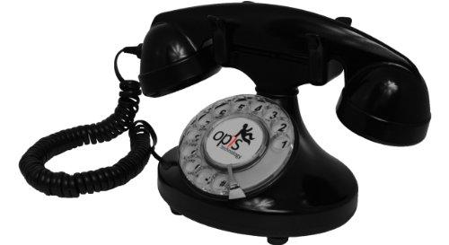 OPIS FunkyFon Cable: Retro-Telefon mit Wählscheibe in geschwungenem 1920er Stil mit elektronischer Klingel (schwarz)