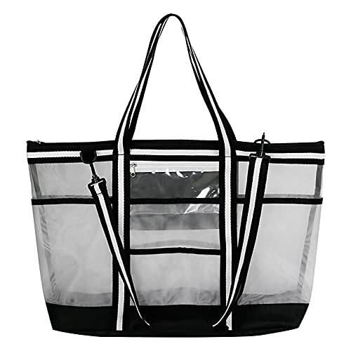 Nylon-Netztasche, Strandtasche mit großem Fassungsvermögen, Schwimmbadtasche, Tragetasche mit einer Schulter Sand Spielzeug Aufbewahrungstasche, Faltbare Handtaschen Netztasche Picknicktaschen