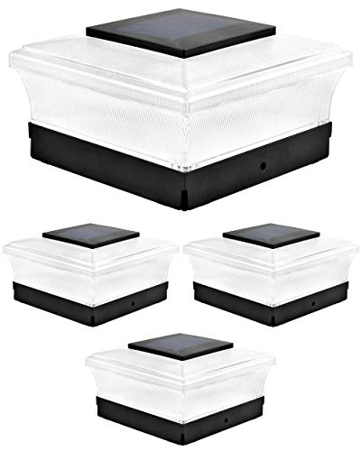 Davinci Lighting Cubed Solar Outdoor Post Cap Lights - 4x4 5x5 6x6 - Bright LED Light for Fence Deck Garden or Patio Posts - Slate Black (4 Pack)