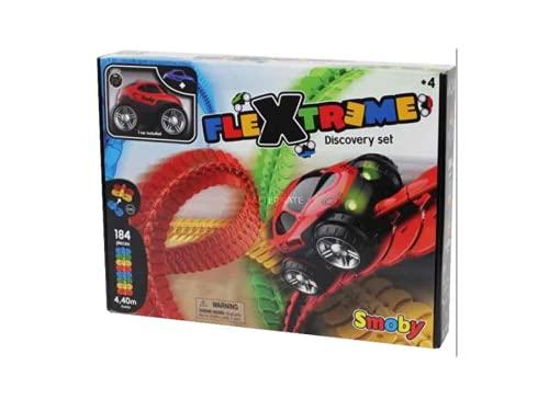 Smoby 180902 FleXtreme-Set Découverte-Circuit Voiture-184 Pistes Flexibles et Modulables + 1 Véhicule Inclus Schaltung Auto, Mehrfarbig
