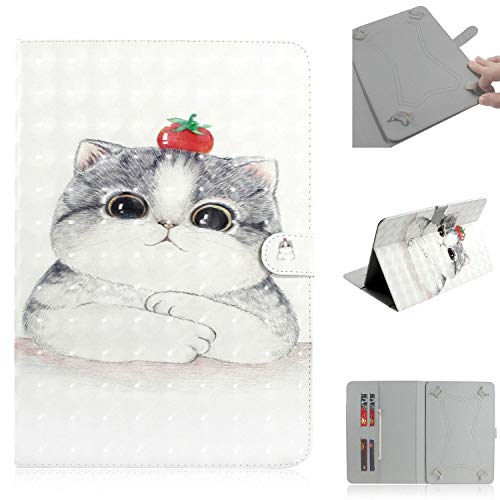 Universal Case for 9.5-10.5 inch Tablet, Techcircle Cute Slim Folding PU Leather Magnet Flip Cover w/Card Slots for iPad Pro/Air 10.5' 9.7', Galaxy Tab A 10.1', Lenovo Tab 4 10', Cute Cat