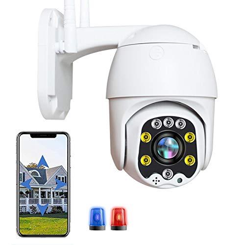 Cámara PTZ WiFi Exterior HD 1080P IP Cámara Vigilancia Inalámbrica Wifi Exterior,Impermeable,Visión Nocturna en Color,ONVIF,P2P,Alerta E-Mail,Audio Bidireccional,Detección de Movimiento 【Cámara+64G】