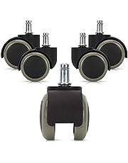 kwmobile Set van 5 harde vloerrollers 10/50 mm - ook voor zachte vloeren - 360° bureaustoelwielen reservewielen - vervangende bureaustoelwielen set in zwart