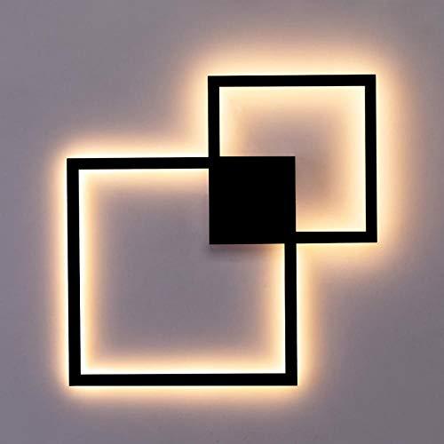 Led-wandlamp, zwart, wit, rond, vierkant, om zelf te maken, wanddecoratie, 20 W, zwart, afstandsbediening, warmwit, 20 W, zwart