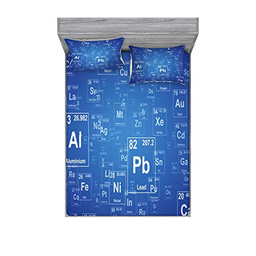 Ambesonne Science Fitted Sheet & Pillow Sham Set, Chemistry Tv Show Inspired Image Periodic Element Table Print Art, Decorative Printed 3 Piece Bedding Decor Set, Full, Azure Blue
