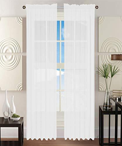 "Elegant Comfort 2-Piece Sheer Window Curtain/Panel with 2"" Rod Pocket - Window Curtains 60"" w X 84"" Length - White"