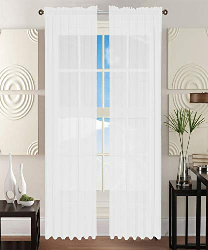 Elegant Comfort 2-Piece Solid White Sheer Window Curtains/Drape/Panels/Treatment Size 60'x84'