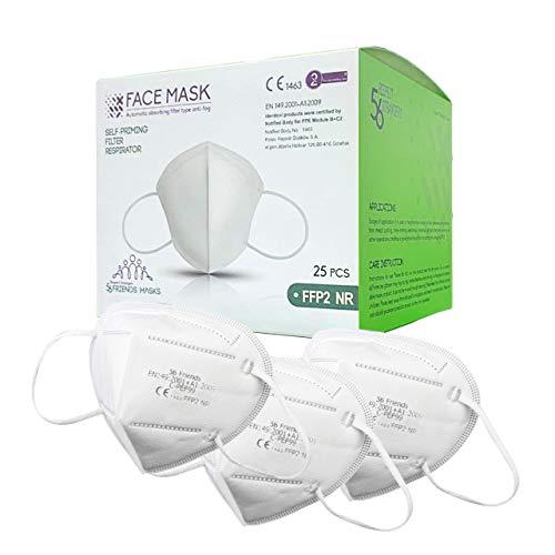 56 Friends FFP2 Maske CE Zertifiziert - Atemschutzmaske, Mundschutz, Partikelfiltermaske | 25 Stück einzelverpackt