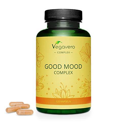 Integratore per BUON UMORE Vegavero® | 120 capsule | 100{fa7ff097595da49bc60374df69392477db3a568477d4104d57b2d744c3dcd0e5} NATURALE con Passiflora, Bacopa, Melissa, Zafferano, Gingko Biloba e Vitamina C naturale | Vegan