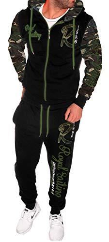 Herren Fitness Jogginganzug Sportanzug Trainingsanzug A. Royal Sailing (4XL Camouflage)