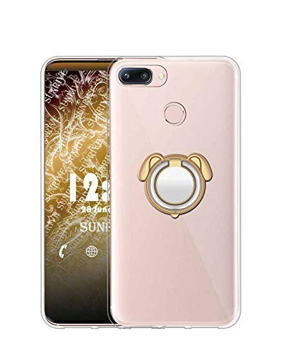 Sunrive Funda para Xiaomi Mi A1, Silicona Transparente Gel Carcasa Case Bumper Anti-Arañazos Espalda Cover Anillo Kickstand 360 Grados Giratorio(Colorear Dorado) + 1 x Lápiz óptico