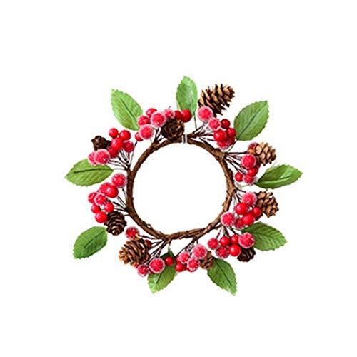 Lovair Berry Christmas Wreath-Vine Door Hanging Pine Cone Garland Vine Circle Christmas Wreath for Autumn Halloween Thanksgiving Day Holiday Decor