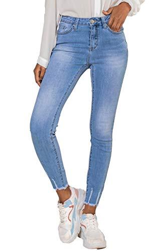 Nina Carter Damen Jeans Hoher Taille Stretchjeans Gewaschener Faltenoptik Jeanshosen Stretch Ausgefranstem Unterschenke Stylishe Skinny Jeans Knöchellange Used Look (HellBlau (Washed Blue), M/38)