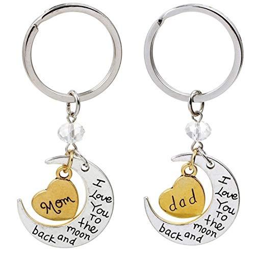 Kim Johanson Eltern Geschenkset *Ich Liebe Dich bis zum Mond und zurück* 2 x Schlüsselanhänger in Silber/Gold für Mama & Papa inkl. Schmuckbeutel