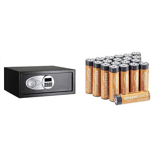 Amazon Basics - Caja fuerte (20L), color negro + Amazon Basics - Pilas alcalinas AA 'Performance' (Paquete de 20)
