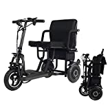 EBEI Portable Travel Scooter 3-Wheel Foldable Electric Tricycle Elderly/Disabled/Outdoor Travel Electric Scooter Lightweight Mobile Support 280 lbs Weight Only 58 lbs Long Range(19 Mile)