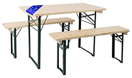Stagecaptain BBEU-110 Hirschgarten Bierzeltgarnitur für Balkon - Kurze Version mit 110 cm Länge - 1x Tisch, 2 x Bank - extra stabiles Holz - klappbar - Made in EU - Natur