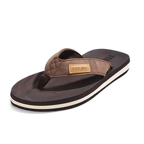 FITORY Chanclas de Hombre para la Playa Zapatos Planos de Verano para Piscina Casual Tan marrón Talla 44 EU