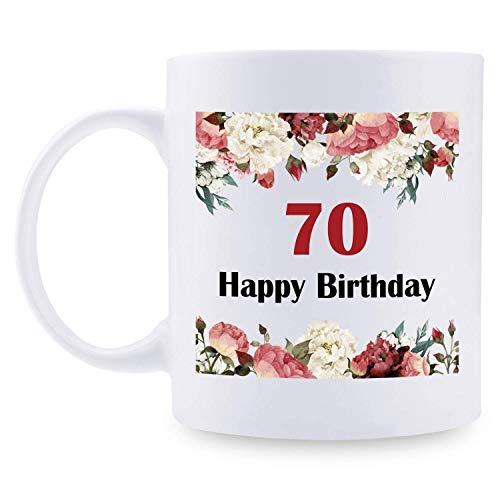 70. Geburtstagsgeschenke für Frauen - 1950 Geburtstagsgeschenke für Frauen, 70 Jahre alte Geburtstagsgeschenke Kaffeetasse für Mutter, Frau, Freund, Schwester, Sie, Kollegin, Mitarbeiterin - Blumenbec