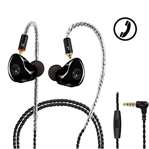 in Ear Monitor,DCMEKA Dynamic Hybrid Wired Earbuds, Dual Driver in-Ear Earphones Musicians in Ear Headphones with MMCX Detachable Cables, Noise-Isolating Earbuds, HiFi Stereo (Black with Mic)