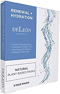 DeLeon Cosmetics Instant Hydration Face Masks | Moisturizing Facial Sheet Mask with Hyaluronic Acid, Collagen, Cucumber, and Vitamin B3 | Natural Skincare for Softer Smoother Skin | Pack of 3