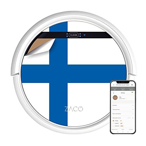 ZACO V5x Saugroboter mit Wischfunktion, App und Alexa Steuerung, 8,1cm flach, automatischer Roboter, 2in1 Wischen oder Staubsaugen, für Hartböden, Fallschutz, mit Ladestation, mit WLAN, finnische Flagge