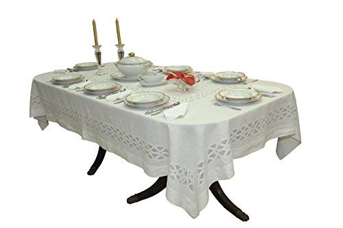 Mantel bordado Madeira hecho a mano simple y elegante, con servilletas, en organdí y lino - blanco, beige