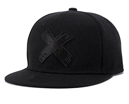 Quanhaigou Anime Snapback Hats for Men Women,Embroidered X ONE Piece Flat Bill Adjustable Baseball Cap Black