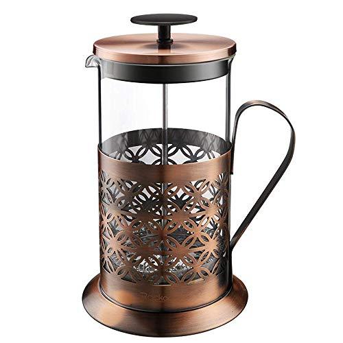 Vobajf Caffettiere a pistone Rame Antico Acciaio Inossidabile Stampa Francese caffettiera teiera Alta Vetro borosilicato tè e caffè cafetieres (Colore : Stainless Steel, Size : 1000ml)