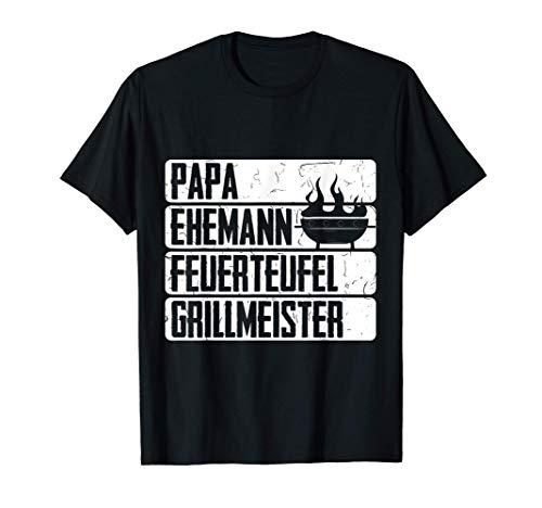 Papa Ehemann Feuerteufel Grillmeister Für Hobby Griller T-Shirt
