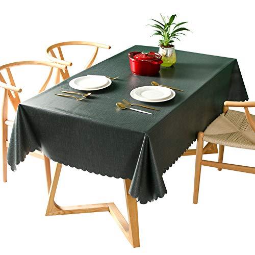 GEOLBU Nappe PVC Rectangulaire Table,Anti-Tache protège Table Meuble pour Cuisine Restaurant,Nappes Multi-usages intérieur et extérieur,Green,90x140cm