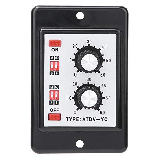 Wacent Relé de Temporizador Doble, Interruptor de Tiempo de Control de Perilla de relé de Temporizador Doble Encendido y Apagado ATDV-YC 6S-60M(DC24V)