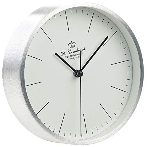 St. Leonhard Tischuhren: Moderne Aluminium-Tisch- & Wanduhr mit Quarz-Uhrwerk, Ø 15 cm (Tischuhr analog)